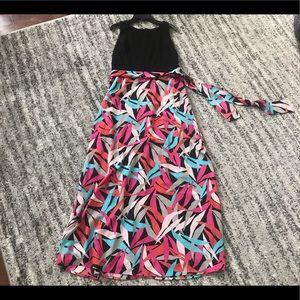 Nine West Maxi Tropical Leaf Patterned Dress